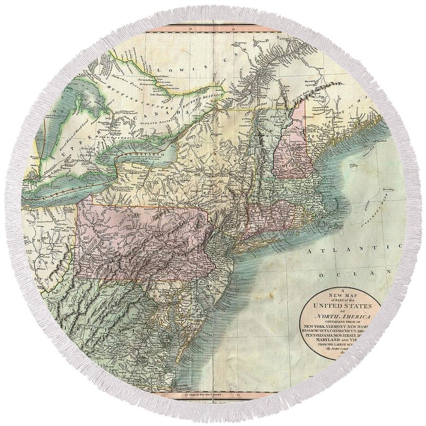 1806 Cary Map Of New England Round Beach Towel featuring the photograph 1806 Cary Map Of New England New York Pennsylvania New Jersey And Virginia by Paul Fearn