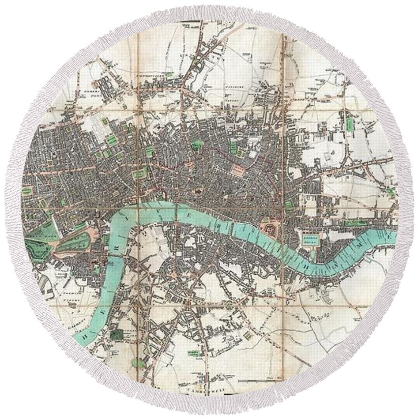 An Extraordinary First Edition Example Of Edward Mogg's Important 1806 Case Map Of London Round Beach Towel featuring the photograph 1806 Mogg Pocket Or Case Map Of London by Paul Fearn