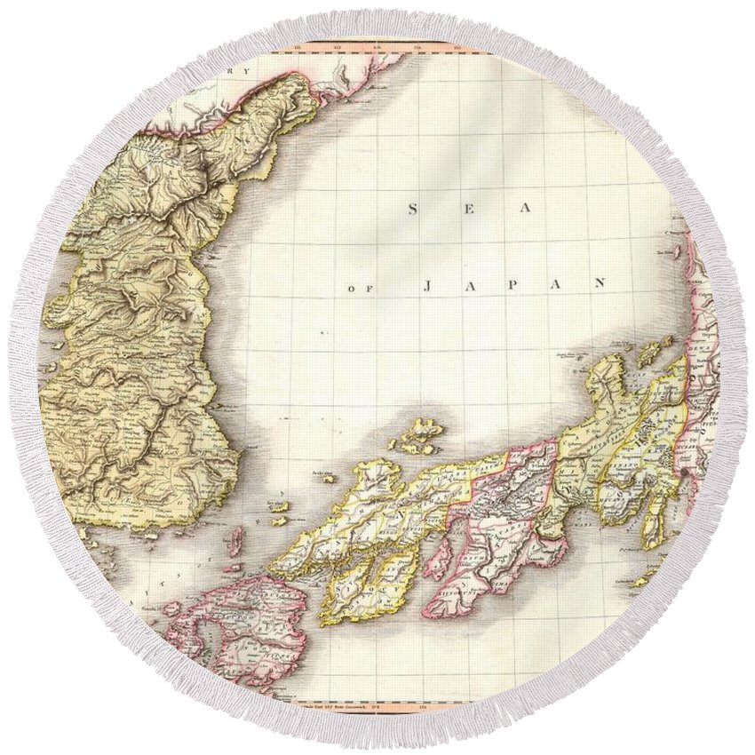 A Masterpiece. This Fascinating Hand Colored 1809 Map By Edinburgh Cartographer John Pinkerton Depicts Korea (corea) And Japan. A Spectacular Round Beach Towel featuring the photograph 1809 Pinkerton Map Of Korea And Japan by Paul Fearn