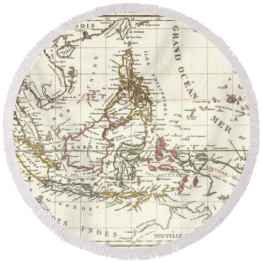 1810 Tardieu Map Of The East Indies Round Beach Towel featuring the photograph 1810 Tardieu Map Of The East Indies Singapore Southeast Asia Sumatra Borneo Java by Paul Fearn