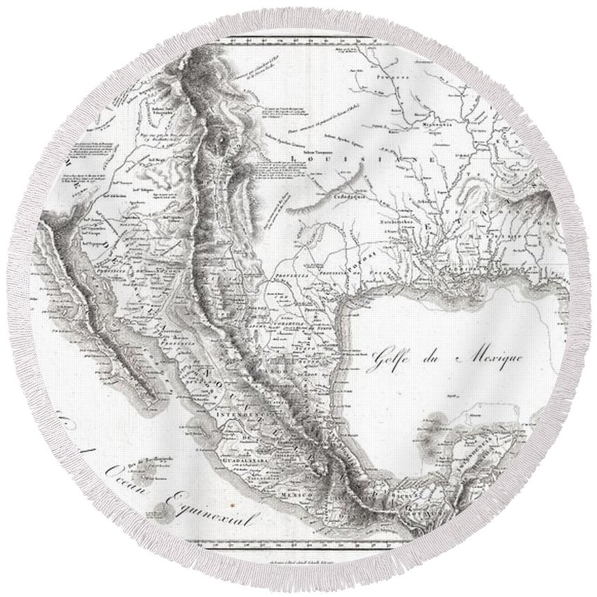 1811 Humboldt Map Of Mexico Round Beach Towel featuring the photograph 1811 Humboldt Map Of Mexico Texas Louisiana And Florida by Paul Fearn