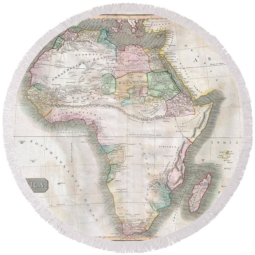 This Hand Colored Map Is A Steel Plate Engraving Round Beach Towel featuring the photograph 1813 Thomson Map Of Africa by Paul Fearn