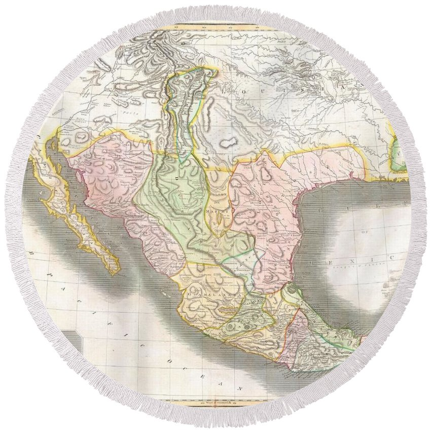 This Hand Colored Map Round Beach Towel featuring the photograph 1814 Thomson Map Of Texas Mexico Louisiana by Paul Fearn