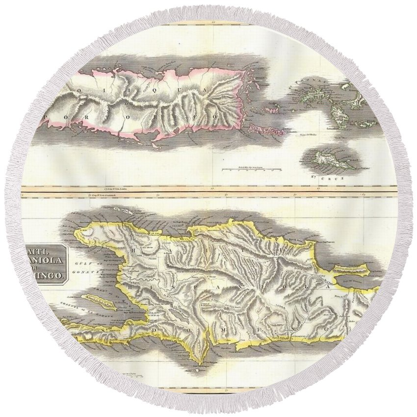 This Fascinating Hand Colored 1814 Map By Edinburgh Cartographer John Thomson Depicts The Modern West Indies Or Caribbean Nations Of Porto Rico Round Beach Towel featuring the photograph 1815 Thomson Map Of Porto Rico Virgin Islands Haiti Dominican Republic by Paul Fearn