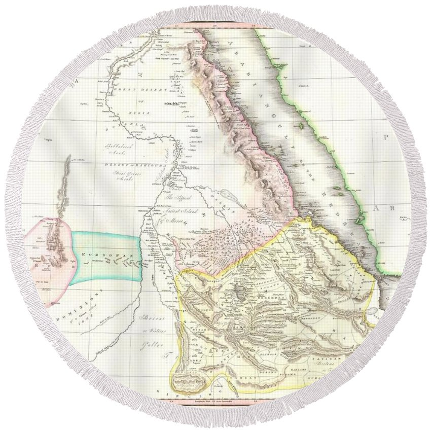 This Fascinating Hand Colored 1818 Map By Edinburgh Cartographer John Pinkerton Depicts Abyssinia Round Beach Towel featuring the photograph 1818 Pinkerton Map Of Abyssinia Ethiopia Sudan And Nubia by Paul Fearn
