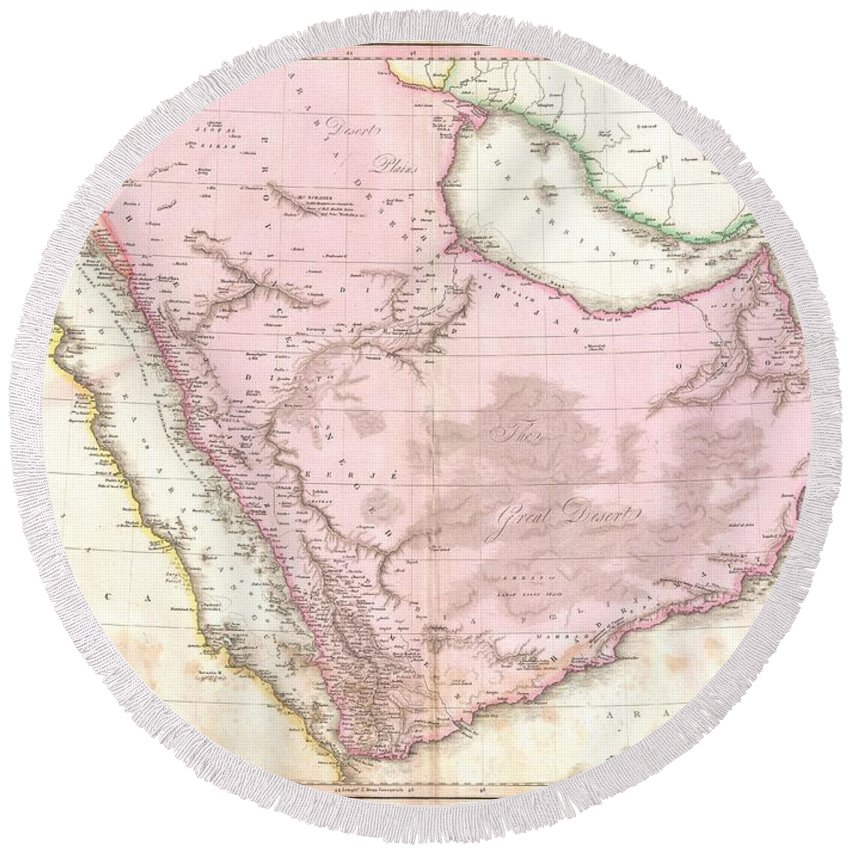 : Extraordinary Large Format Map Of Arabia Published In 1818 By Cartographer John Pinkerton. Centered On The Desert Province Of Neged Round Beach Towel featuring the photograph 1818 Pinkerton Map Of Arabia And The Persian Gulf by Paul Fearn