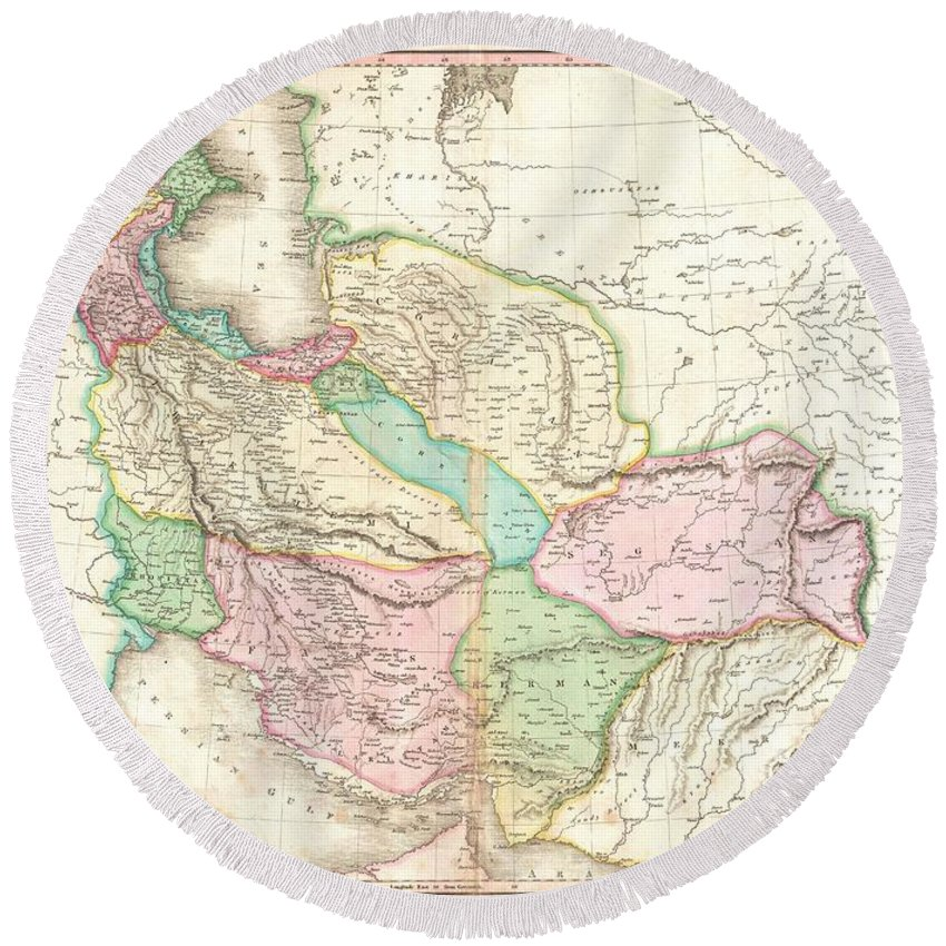 A Rare And Important 1818 Map Of Persia By John Pinkerton. Depicts From The Black Sea Eastward As Far As The Indus Valley Round Beach Towel featuring the photograph 1818 Pinkerton Map Of Persia by Paul Fearn