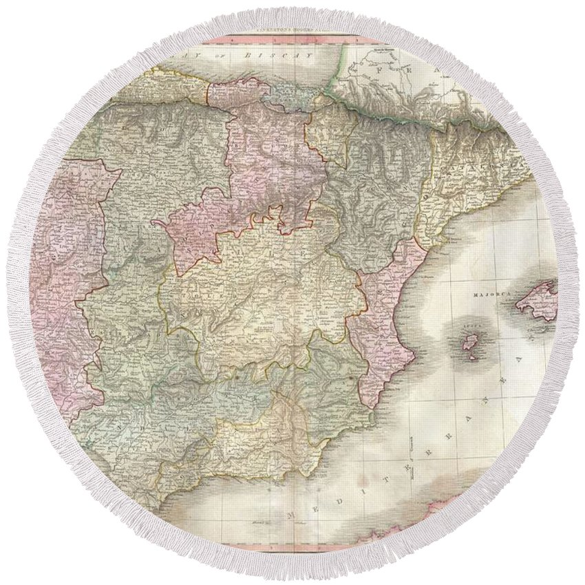 John Pinkerton's Highly Decorative Map Of Spain And Portugal Round Beach Towel featuring the photograph 1818 Pinkerton Map Of Spain And Portugal by Paul Fearn