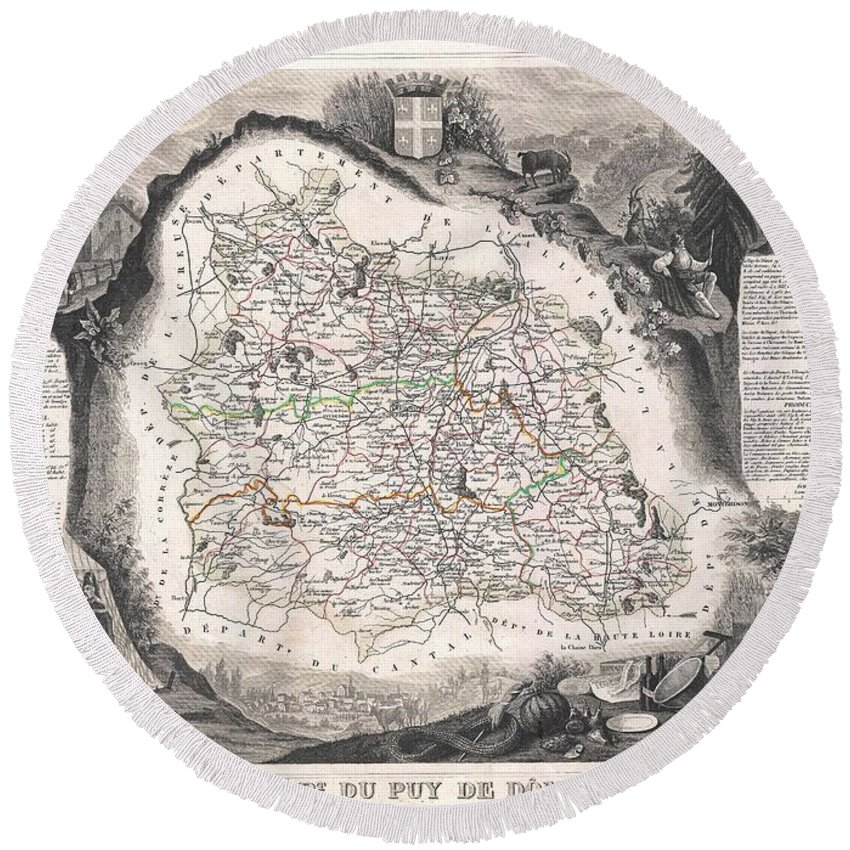 1852 Levasseur Map Of The Department Du Puy De Dome Round Beach Towel featuring the photograph 1852 Levasseur Map Of The Department Du Puy De Dome France by Paul Fearn