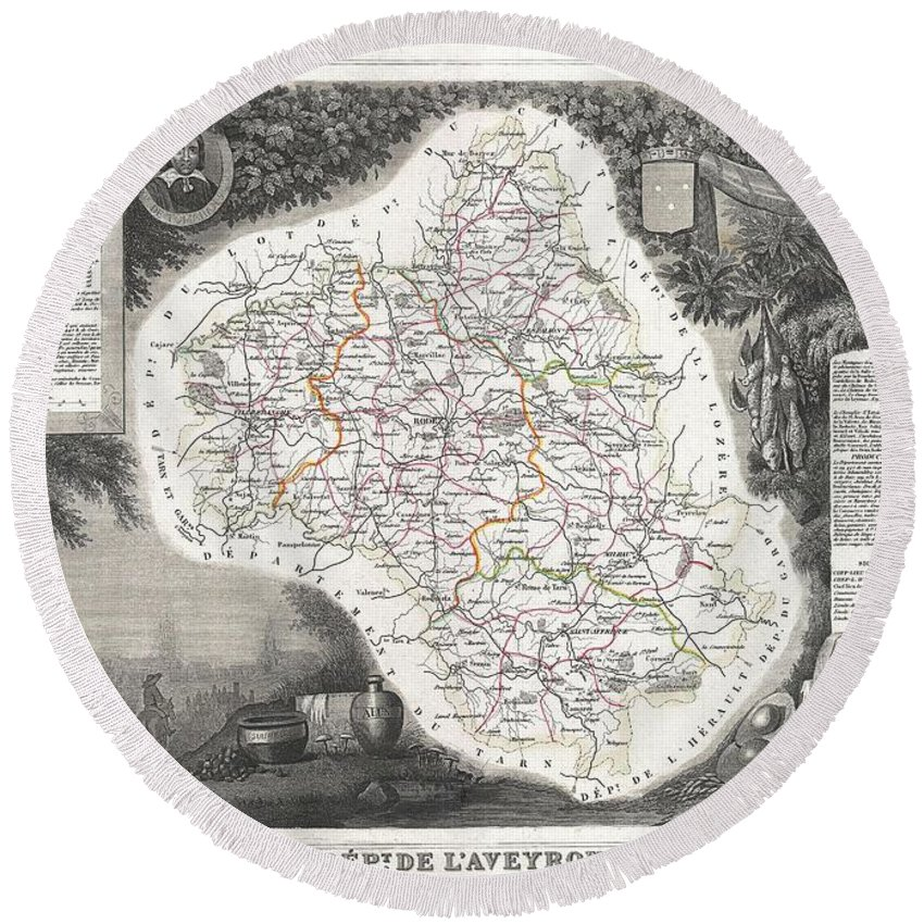 1852 Levasseur Map Of The Department L'aveyron Round Beach Towel featuring the photograph 1852 Levasseur Map Of The Department L Aveyron France Roquefort Cheese Region by Paul Fearn
