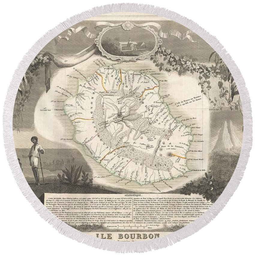 1852 Levasseur Map Of The Reunion Or The Ile. Bourbon Round Beach Towel featuring the photograph 1852 Levasseur Map Of The Reunion Or The Ile Bourbon Indian Ocean by Paul Fearn