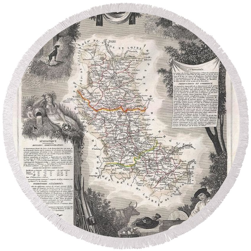 1852 Levasseur Mpa Of The Department De La Loire Round Beach Towel featuring the photograph 1852 Levasseur Mpa Of The Department De La Loire France Loire Valley Region by Paul Fearn