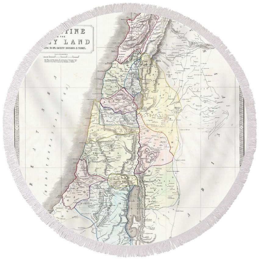 1852 Philip Map Of Palestine - Israel - Holy Land Round Beach Towel featuring the photograph 1852 Philip Map Of Palestine Israel Holy Land by Paul Fearn