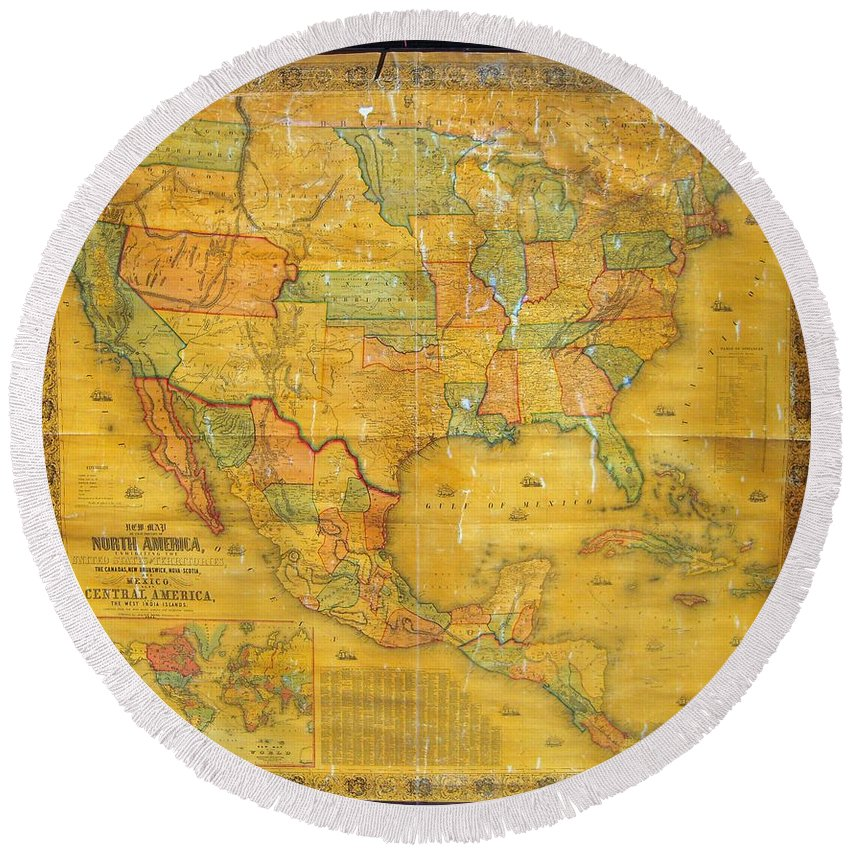 Round Beach Towel featuring the photograph 1854 Jacob Monk Wall Map Of North America by Paul Fearn