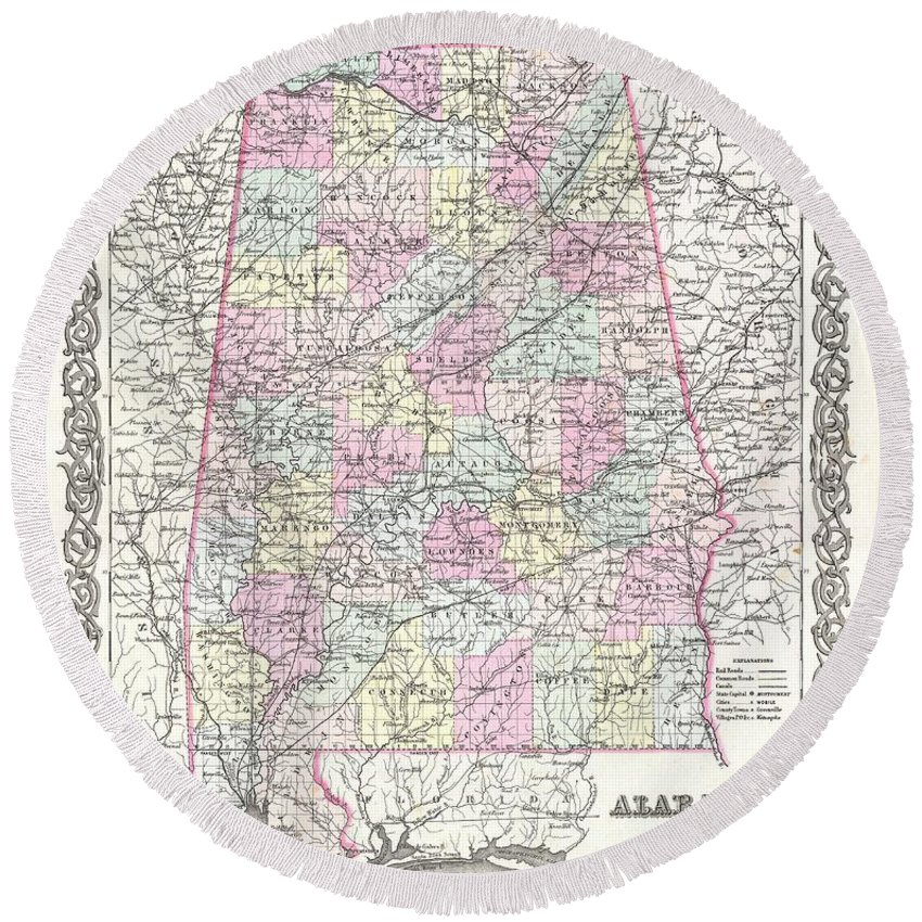 Round Beach Towel featuring the photograph 1855 Colton Map Of Alabama by Paul Fearn
