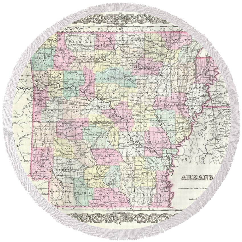 Round Beach Towel featuring the photograph 1855 Colton Map Of Arkansas by Paul Fearn
