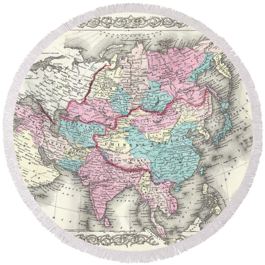 Round Beach Towel featuring the photograph 1855 Colton Map Of Asia by Paul Fearn