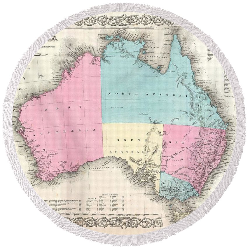 Round Beach Towel featuring the photograph 1855 Colton Map Of Australia by Paul Fearn