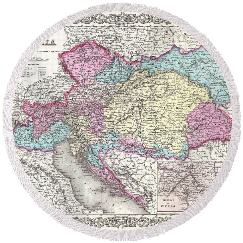 Round Beach Towel featuring the photograph 1855 Colton Map Of Austria Hungary And The Czech Republic by Paul Fearn