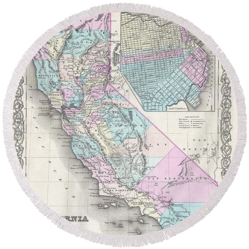 Round Beach Towel featuring the photograph 1855 Colton Map Of California And San Francisco by Paul Fearn