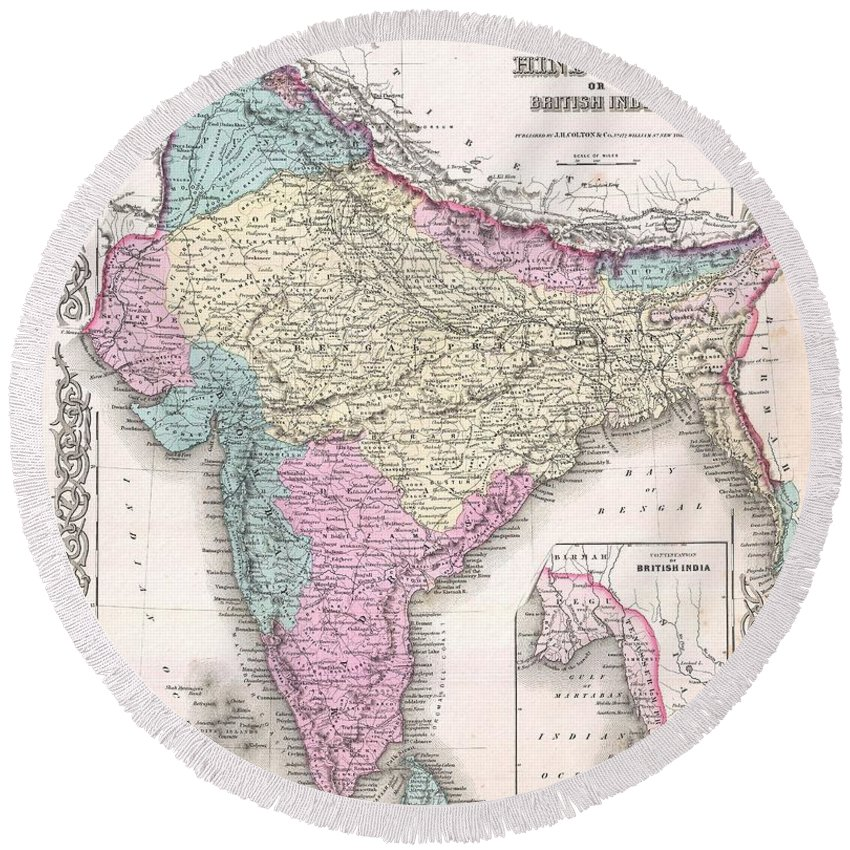 Round Beach Towel featuring the photograph 1855 Colton Map Of India by Paul Fearn