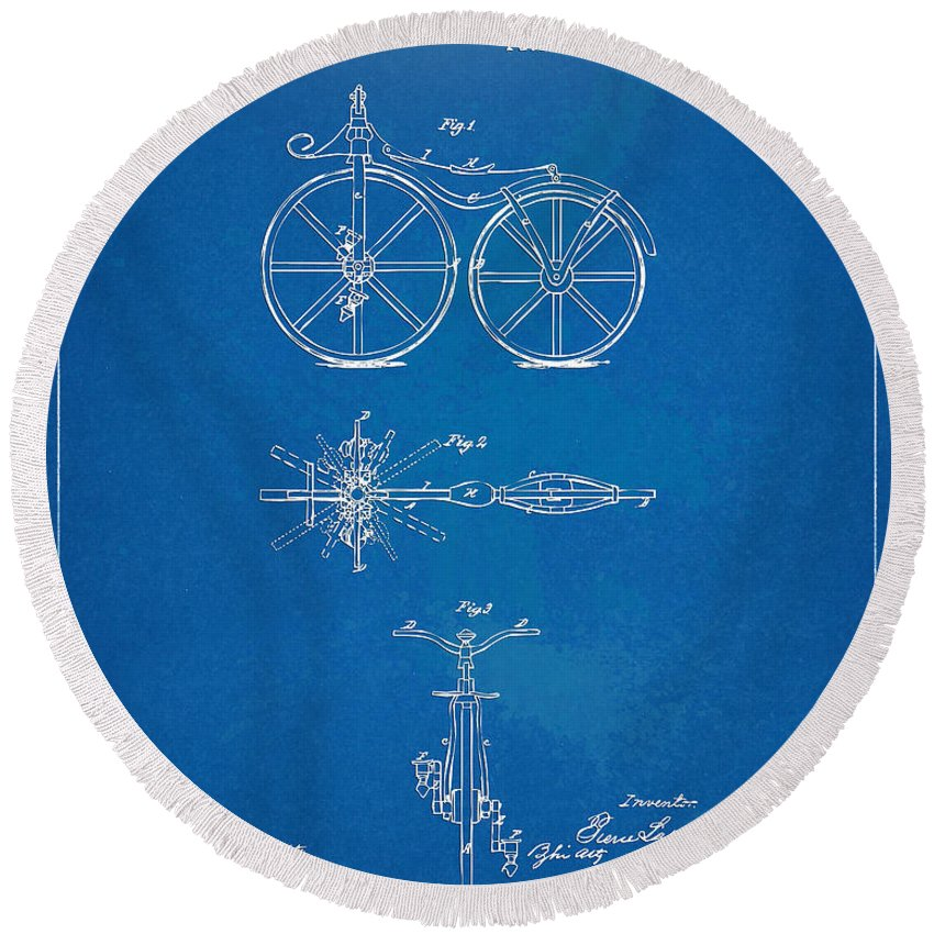 Bicycle Round Beach Towel featuring the digital art 1866 Velocipede Bicycle Patent Blueprint by Nikki Marie Smith