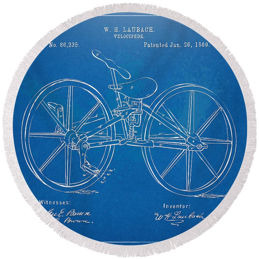 Bicycle Round Beach Towel featuring the digital art 1869 Velocipede Bicycle Patent Blueprint by Nikki Marie Smith