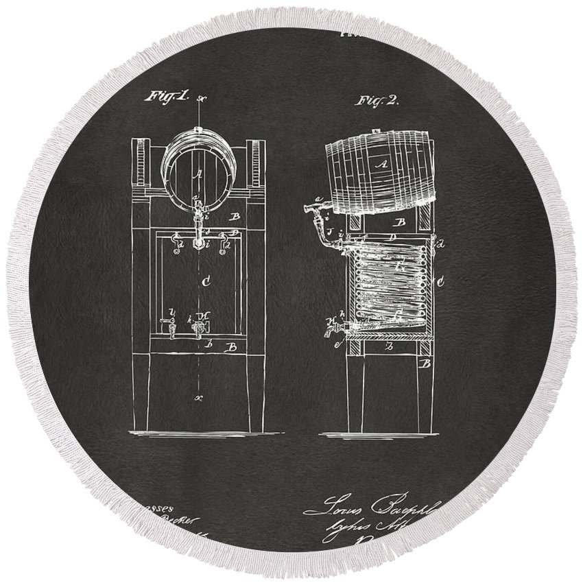 Beer Round Beach Towel featuring the digital art 1876 Beer Keg Cooler Patent Artwork - Gray by Nikki Marie Smith