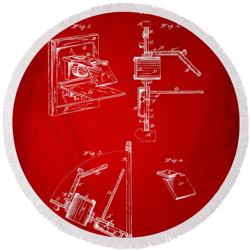 Camera Obscura Round Beach Towel featuring the digital art 1881 Taylor Camera Obscura Patent Red by Nikki Marie Smith