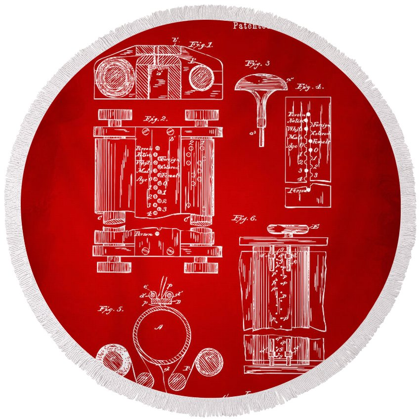 First Computer Round Beach Towel featuring the digital art 1889 First Computer Patent Red by Nikki Marie Smith