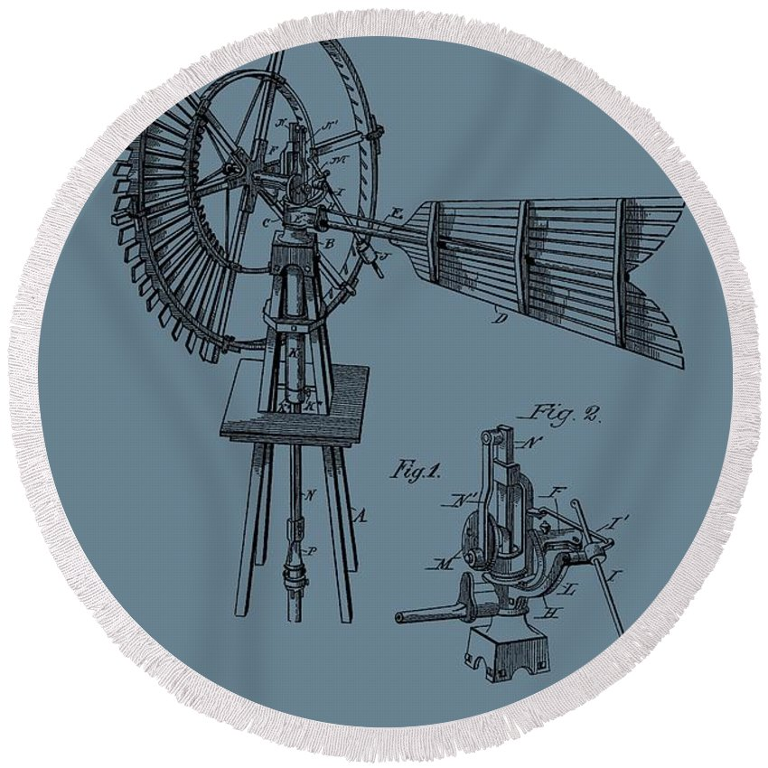 Antique Windmill Patent Round Beach Towel featuring the digital art 1889 Windmill On Blue by Dan Sproul