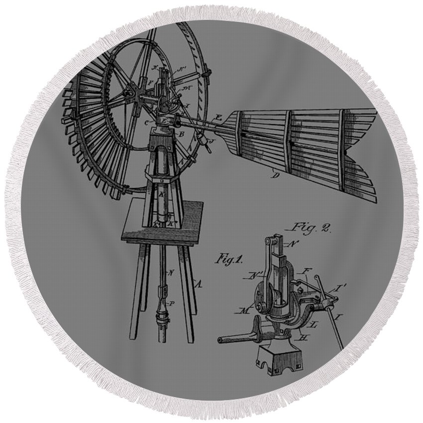 Antique Windmill Patent Round Beach Towel featuring the mixed media 1889 Windmill Patent by Dan Sproul