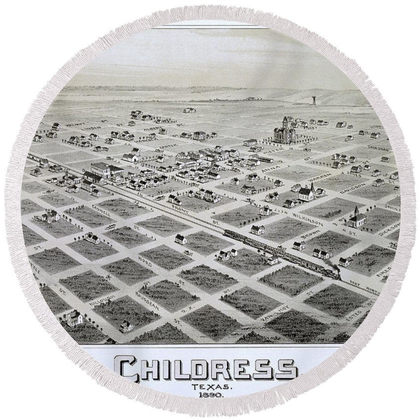 Map Round Beach Towel featuring the photograph 1890 Vintage Map Of Childress Texas by Stephen Stookey