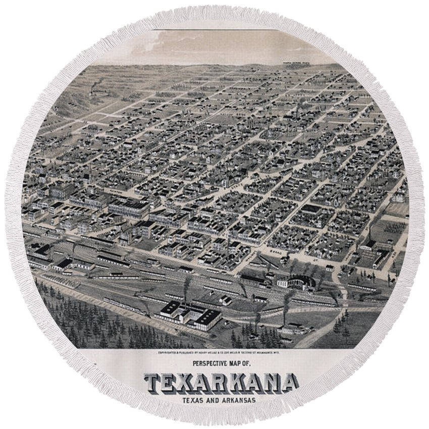 Map Round Beach Towel featuring the photograph Vintage Perspective Map Of Texarkana by Stephen Stookey