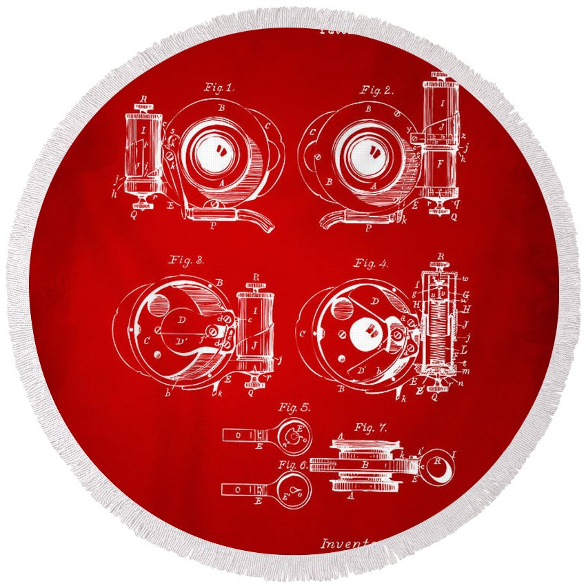 Camera Round Beach Towel featuring the digital art 1892 Barker Camera Shutter Patent Red by Nikki Marie Smith