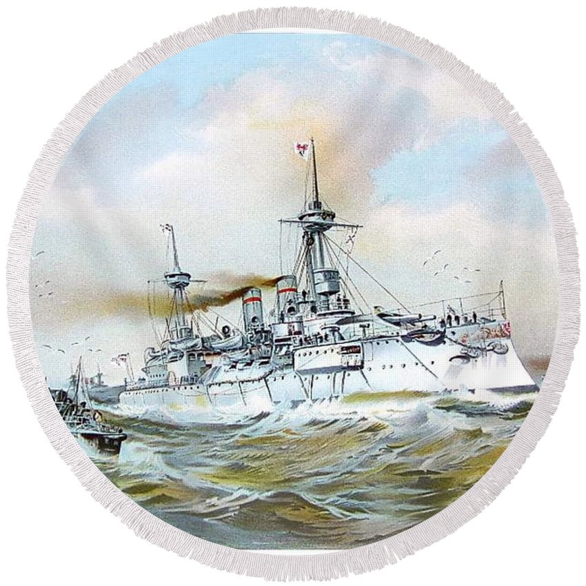 1895 Round Beach Towel featuring the digital art 1895 - The Brandenburg Squadron At Sea - Color by John Madison
