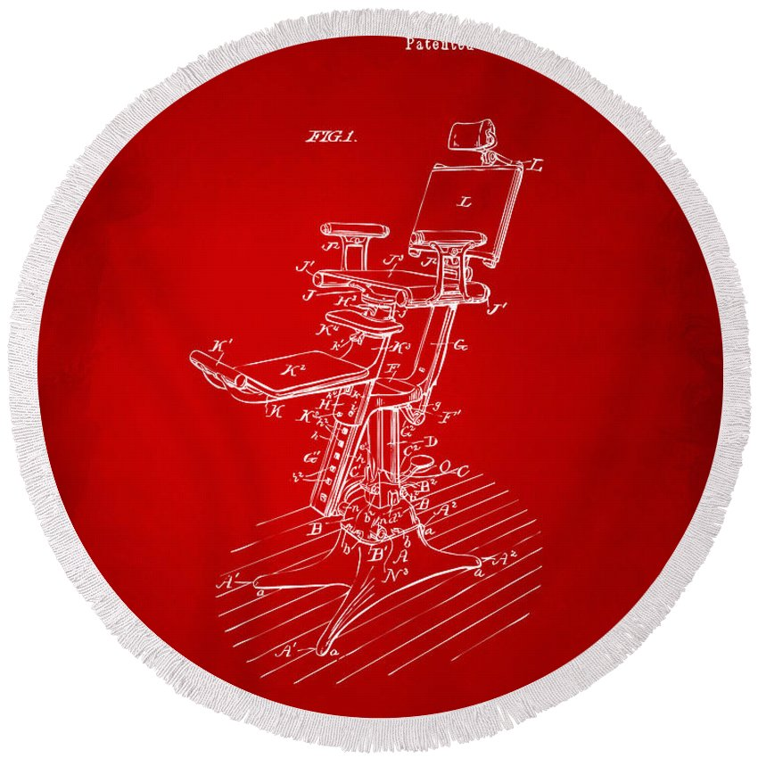 Dental Chair Round Beach Towel featuring the digital art 1896 Dental Chair Patent Red by Nikki Marie Smith