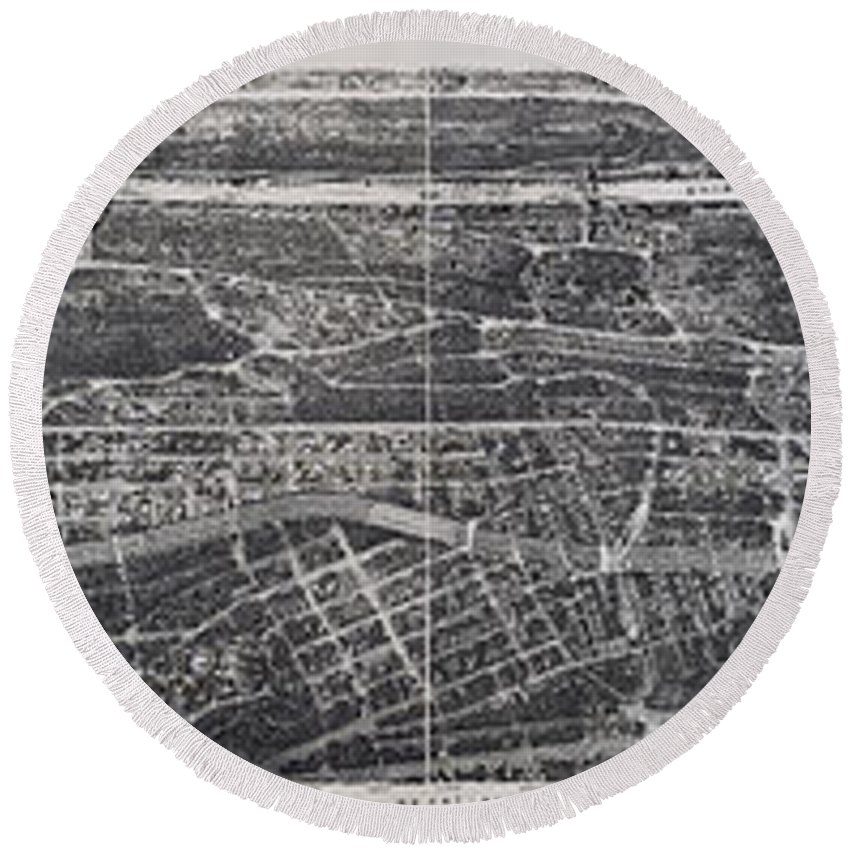New York Round Beach Towel featuring the photograph 1897 Vintage Nyc Map Of The South Bronx by Stephen Stookey