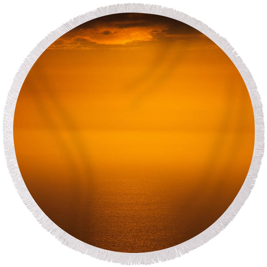 Sky Round Beach Towel featuring the photograph 19 July 2014 Sunset Palos Verdes by Toula Mavridou-Messer