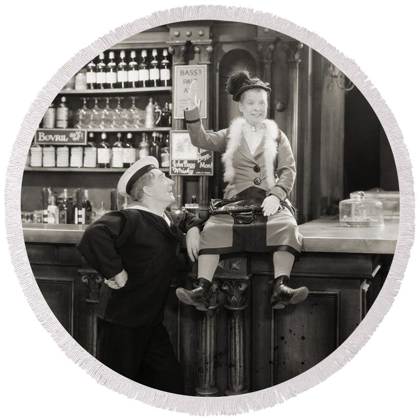 1920s Round Beach Towel featuring the photograph Silent Film Still: Drinking by Granger