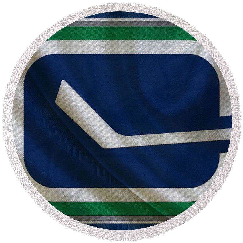 Canucks Round Beach Towel featuring the photograph Vancouver Canucks by Joe Hamilton