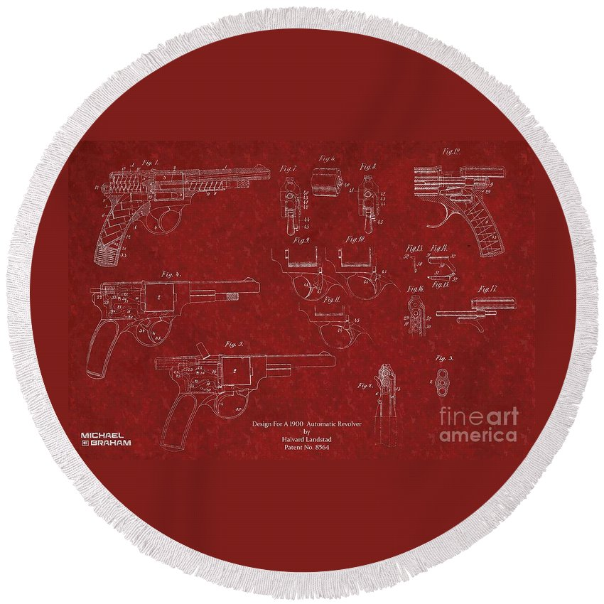Patent Round Beach Towel featuring the photograph 1900 Landstad Automatic Revolver Patent by Doc Braham