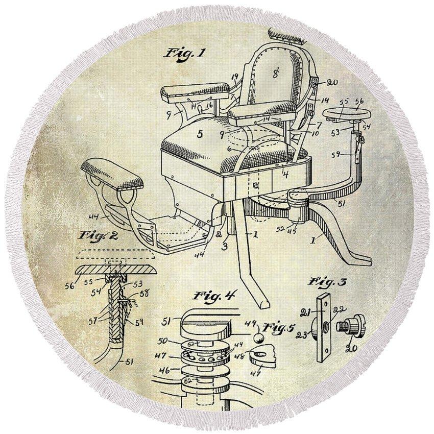 Barber Chair Patent Drawing Blueprint Round Beach Towel featuring the drawing 1901 Barber Chair Patent Drawing by Jon Neidert