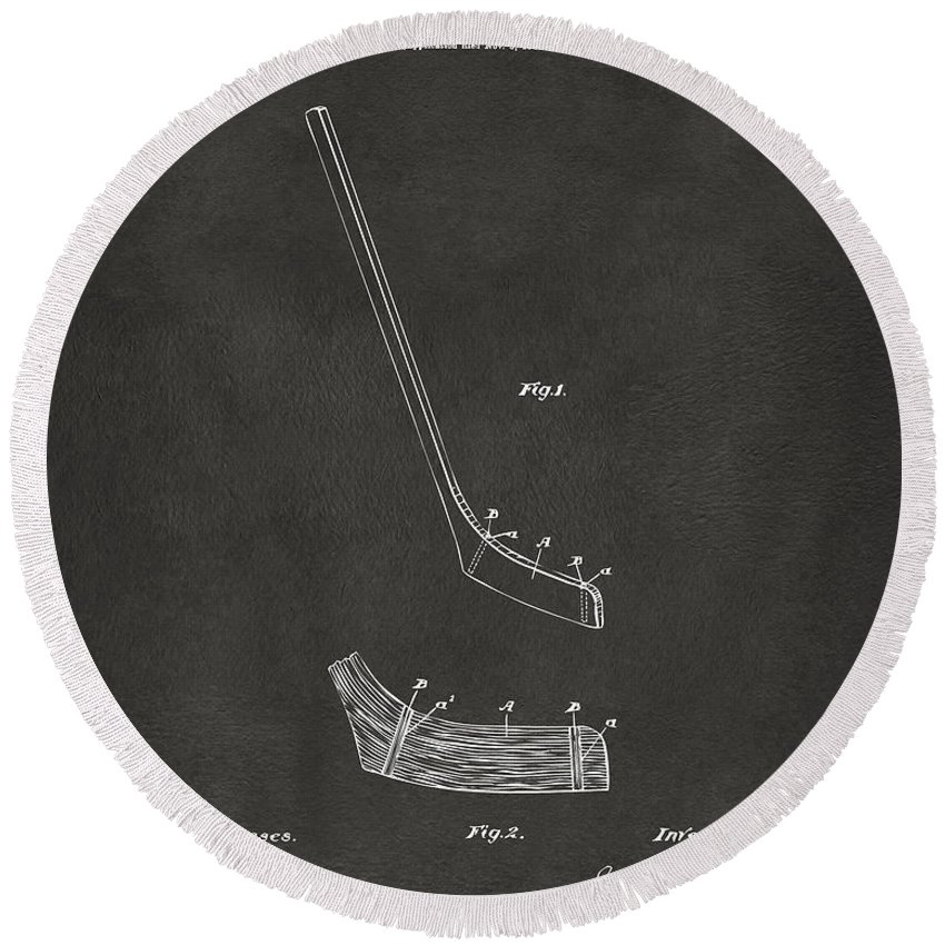 Hockey Round Beach Towel featuring the digital art 1901 Hockey Stick Patent Artwork - Gray by Nikki Marie Smith