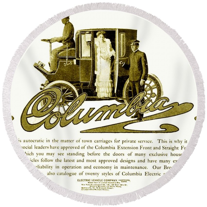 1903 Round Beach Towel featuring the digital art 1903 - Columbia Motor Carriage Advertisement by John Madison