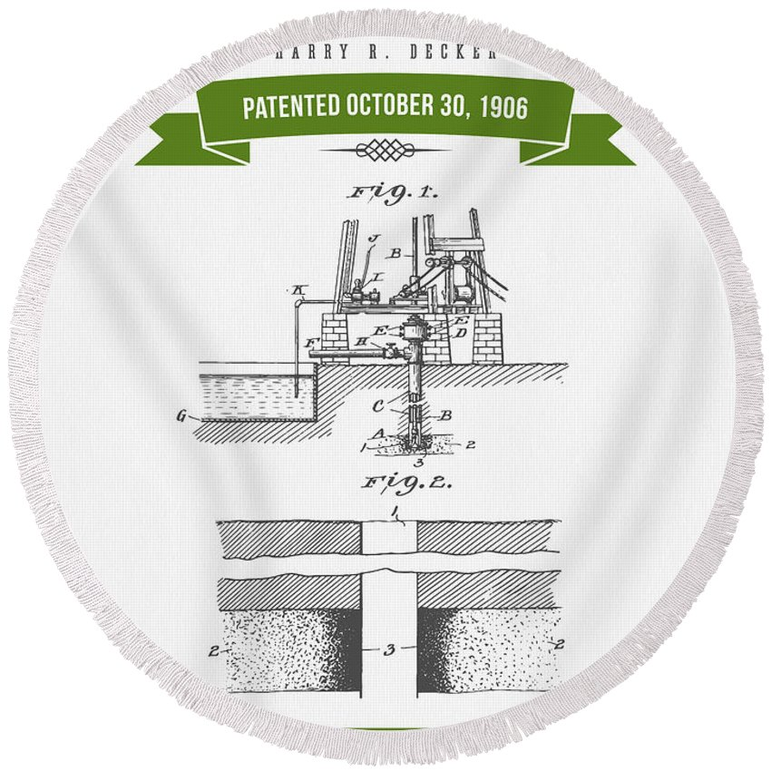 Oil Round Beach Towel featuring the digital art 1906 Well Drilling Apparatus Patent Drawing - Retro Green by Aged Pixel