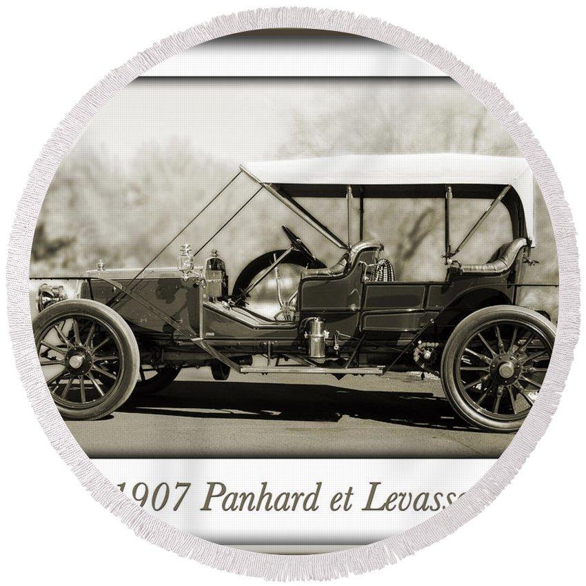 1907 Panhard Et Levassor Round Beach Towel featuring the photograph 1907 Panhard Et Levassor by Jill Reger