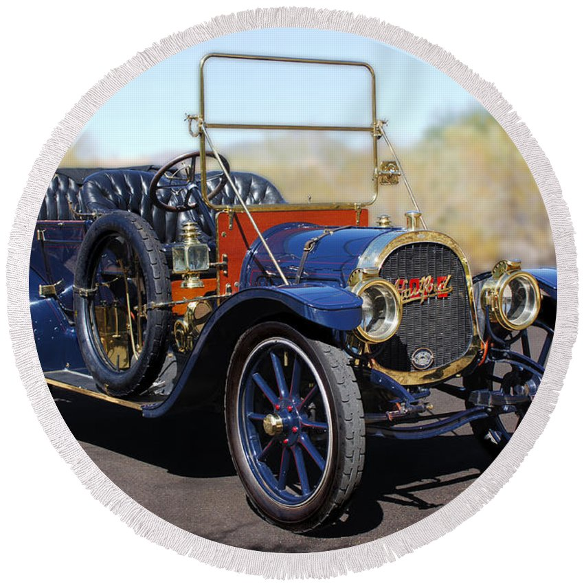 1910 Pope Hartford Model T Round Beach Towel featuring the photograph 1910 Pope Hartford Model T by Jill Reger