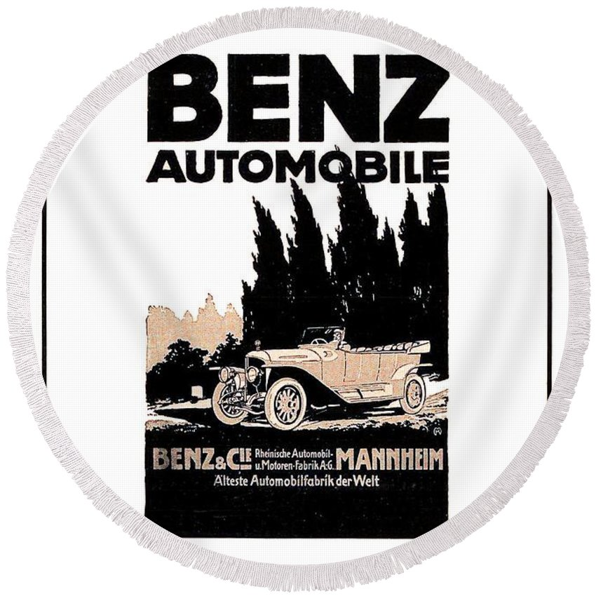 1914 Round Beach Towel featuring the digital art 1914 - Benz Automobile Poster Advertisement - Color by John Madison