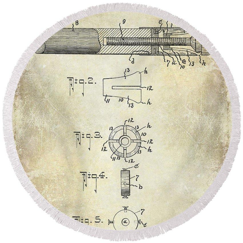 1915 Round Beach Towel featuring the photograph 1915 Billiard Cue Patent Drawing by Jon Neidert